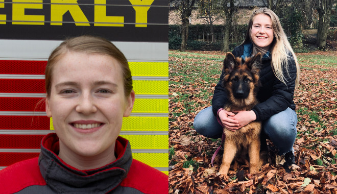2 photos. 1 showing zoe with her pet dog and the other a head shot in uniform