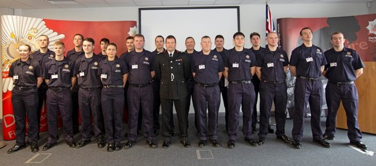 New On-Call Firefighters at a passing out ceremony