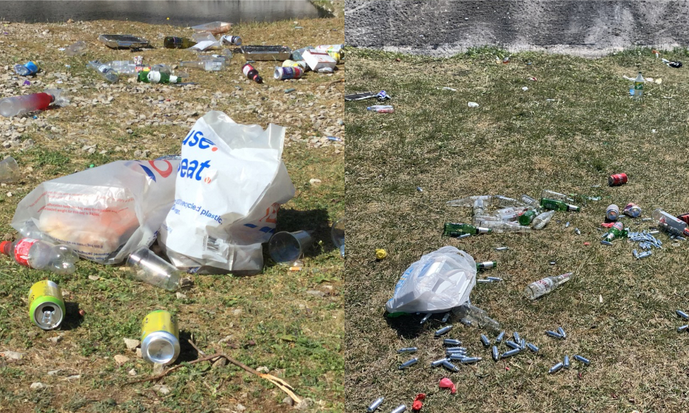 bottles, cans, plastic bags and gas cylinders rubbish strewn on ground