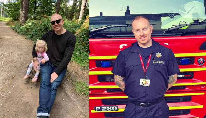 2 photos side by side one showing oliver in uniform in front of fire engine and the other in casual clothes taken with his young daughter with trees and grass in background.