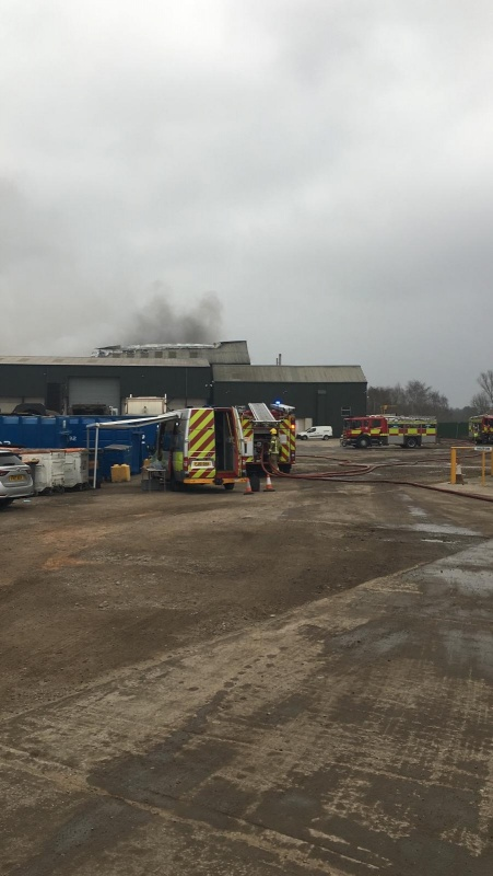 Fire appliances at a recycling centre fire in Ilkeston