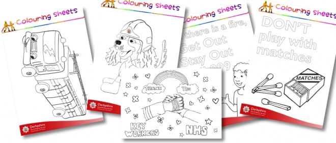 collage of 5 colouring sheets