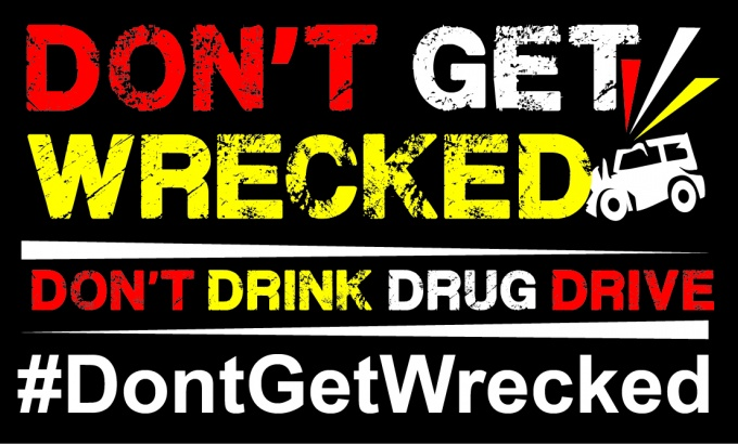 text based graphic. don't get wrecked. don't drink drug drive